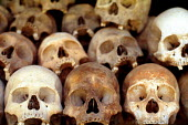 Remains of Cambodians executed by Khmer Rouge at the killing fields of Choeung Ek, Cambodia.1992 - Howard Davies - 03-05-1992