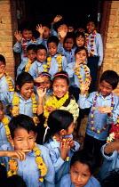 Nepalese schoolchildren in a village school. Kathmandu district, Nepal. 1997 - Howard Davies - 03-05-1997