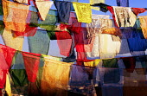 Buddhist prayer flags at Swayambhunath stupa, in Kathmandu. Nepal - Howard Davies - 03-08-1997