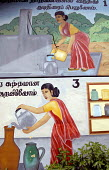 Public health awareness murals painted by Oxfam on the walls of a school in Ampara district. The message reads : Always use water from a protected water source and keep the water in clean containers.... - Howard Davies - 2000s,2007,agency,aid charity,assistance,charities,charity organisation,child,CHILDHOOD,children,communication,edu education,education,FEMALE,hea health,health,humanitarian,hygiene,indian,internationa
