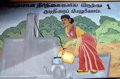 Public health awareness murals painted by Oxfam on the walls of a school in Ampara district. The message reads : Always use water from a protected water source . Sri Lanka 2007 - Howard Davies - 2000s,2007,agency,aid charity,assistance,charities,charity organisation,child,CHILDHOOD,children,communication,edu education,education,FEMALE,hea health,health,humanitarian,hygiene,indian,internationa