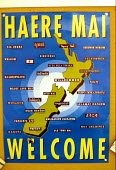 A multicultural welcome sign at a school within a refugee reception centre, in Auckland. - Howard Davies - 03-05-1990