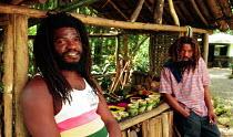 Rastafarian stall holders, Reich Falls, Jamaica 1998 - Howard Davies - 03-08-1998