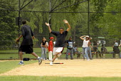 Baseball being played by schoolchildren in Central Park, New York, USA 2006 - Howard Davies - 21-05-2006