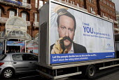 Conservative Party leader David Cameron on Vote for Change mobile billboard paraded outside Spring Conservative, Brighton, UK 2010 - Howard Davies - 27-02-2010