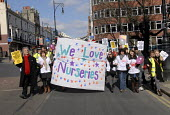 Nursery workers protest at a March for Jobs demonstration, Brighton, UK 2010 - Howard Davies - 06-03-2010