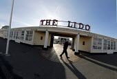 The Lido on Worthing sea front, Sussex, UK 2008 - Howard Davies - 2000s,2008,ACE,age,ageing population,architecture,attraction,Ayers,building,buildings,COAST,coastal,coasts,culture,elderly,entertainment,front,Grade,Grade two listed,holiday,holiday maker,holiday make