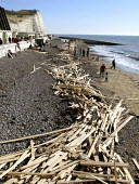 Three weeks after the Ice Prince sunk, timber from its cargo remains washed up on Sussex beaches. UK 2008 - Howard Davies - 10-02-2007