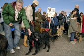 Dog owners protest with their dogs against city council proposals to restrict dogs on beaches and other public spaces in Brighton. UK 2008 - Howard Davies - 2000s,2008,activist,activists,against,animal,animals,ban,banned,banning,beach,BEACHES,CAMPAIGN,campaigner,campaigners,CAMPAIGNING,CAMPAIGNS,COAST,coastal,coasts,council,DEMONSTRATING,demonstration,dem