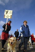 Dog owners protest with their dogs against city council proposals to restrict dogs on beaches and other public spaces in Brighton. UK 2008 - Howard Davies - 01-03-2008