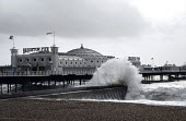 Waves hitting a jetty by Brighton Pier during a winter storm. Brighton UK 2008 - Howard Davies - 10-03-2008