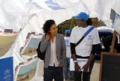 Actor Sophie Okonedo ( Hotel Rwanda ) visiting UNHCR tents and destroyed Darfur village set up in London Trafalgar Square to commemorate World Refugee Day.UK 2008 - Howard Davies - 17-06-2008