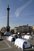 Refugee tents set up by UNHCR at Trafalgar Square to commemorate World Refugee Day. UK 2008 - Howard Davies - 17-06-2008
