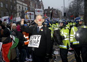 Protester as Tony Blair at protest against the occupation of Gaza by Israel. London, UK 2009 - Howard Davies - Gaza,Israel,Israeli,palestine,palestinian,protest,protests,police,policing,Riot Police,protest,demonstration,2009,2000s