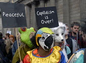 Protesters outside the Bank of England on the Financial Fools Day demonstration, London, UK 2009 - Howard Davies - 01-04-2009