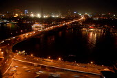 View by night of traffic in central Cairo and a bridge over the River Nile, Egypt 2008 - Howard Davies - 18-04-2008