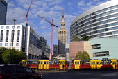Traditional trams in the centre of Warsaw with Palace of Culture and Science, constructed by the former Soviet Union as gift to the Polish people in background, Warsaw, Poland 2008 - Howard Davies - 05-06-2008