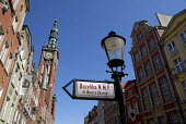 Street sign in the old city of Gdansk rebuilt after it was nearly completely destroyed in the Second World War, Poland 2008 - Howard Davies - 04-06-2008