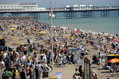 Crowds of day trippers on Brighton beach in summer, UK 2009 - Howard Davies - 14-06-2009