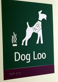 Sign for dog toilet with Braille markings used by blind and partially sighted people for their guide dogs, UK 2008 - Howard Davies - 2000s,2008,alphabet,animal,animals,bicentenary,binary,blind,blindness,Braille,canine,characters,communicating,communication,disabilities,disability,disable,disabled,disablement,dog,dogs,dots,encoding,