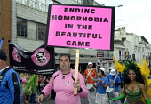Justin Campaign, named after Justin Fashanu, campaigning against homophobia in football, taking part in Gay Pride in Brighton, UK 2009 - Howard Davies - 01-08-2009