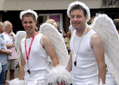 Two fairies or angels, Gay Pride in Brighton, UK 2009 - Howard Davies - 01-08-2009