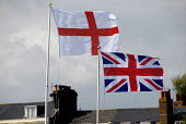Union Flag and St George's Cross flying on flagpoles, Littlehampton seafront, UK 2009 - Howard Davies - 02-08-2009
