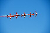 RAF Red Arrows display team performing manoeuvres in the sky over Weymouth, Dorset. - Howard Davies - 19-08-2009