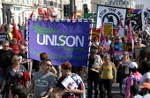 Trade Unions including UNISON in protest for jobs at Labour Party Conference in Brighton , UK 2009 - Howard Davies - 27-09-2009