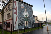The schoolgirl Annette McGavigan (shot by a British soldier in 1971) in a mural in the Peoples Gallery by the Bogside Artists, Derry. - Howard Davies - 2000s,2009,ACE,ace art culture arts,architecture,armed forces,army,art,artwork,artworks,Bogside,building,buildings,cities,city,conflict,conflicts,culture,Derry,exhibition,female,females,fine art,Galle