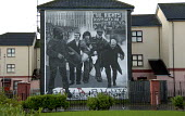 Mural commemorating Bloody Sunday, one of the Republican murals in the Peoples Gallery by the Bogside Artists, Derry. Northern Ireland - Howard Davies - 20-11-2009