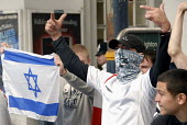 Protesters who are members of far right English Defence League with Israeli Star of David flag in Brighton, UK 2010 - Howard Davies - 30-08-2010