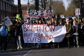 Sixth Form and secondary school pupils protest against education cuts and university tuition fees , Brighton, UK 2010 - Howard Davies - 24-11-2010
