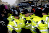 Students clash with police during protest against education cuts and university tuition fees , Brighton, UK 2010 - Howard Davies - 30-11-2010