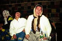 Bosnian Muslim women and children gather for the first anniversary of Srebrenica where more than seven thousand Muslim men were massacred by Bosnian Serbs. Tuzla, Bosnia. 1996 - Howard Davies - 01-08-1996