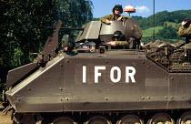 Nato UK forces on patrol in Muslim held Bosnia. North west Bosnia. 1996 - Howard Davies - 01-08-1996