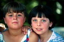Bosnian Muslim refugee children in a refugee camp. Djakovo, Croatia. 1992 - Howard Davies - 01-08-1992