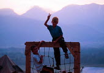 Kosovar Albanian refugee children playing in Cegrane refugee camp, Macedonia. 1999 - Howard Davies - 01-05-1999