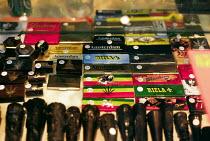 Cannabis paraphernalia on sale at store in Amsterdam, Holland. 1998 - Howard Davies - 01-05-1998