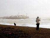 A woman uses her mobile phone to photograph a winter storm. Brighton, UK 2007 - Howard Davies - 2000s,2007,bad,COAST,coastal,coasts,communicating,communication,eni environmental issues,FEMALE,force,gale,gales,high winds,LFL Leisure,nature,OCEAN,people,person,persons,phone,PHONES,photograph,photo