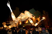 'Burning of the Clocks' Parade, held annually in Brighton, a winter solstice festival. At which massive lanterns and models are burnt on a large bonfire, at the end of the Parade. - Howard Davies - 21-12-2006