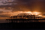 The remains of Brighton's Victorian West Pier. Plans to demolish the Pier and replace it with a viewing tower called i360 have been proposed. Brighton, UK 2007 - Howard Davies - 2000s,2007,ACE,COAST,Culture,heritage,LFL Leisure,OCEAN,Plans,sea,seafront,SEAFRONTS,seaside,seasides,Victorian,WATER