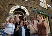 The Friends of the Lewes Arms celebrate Harveys beer, brewed in Lewes, being restored to their local pub. Locals had led a successful boycott of the pub after Greene King brewery withdrew Harveys when... - Howard Davies - 26-04-2007