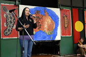 Sam Cook, an aboriginal woman who is the producer of the Yirra Yaakin Noongar Theatre Company, speaks in London at the annual Sorry commemoration remembering the Stolen Generations in Australia, Abori... - Howard Davies - 26-05-2007