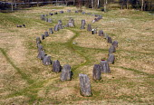 Standing stones in a the shape of a Viking ship at Anundshog, the largest ancient royal burial ground in Sweden. 2006 - Howard Davies - 2000s,2006,ace culture,Anundshog,boat,boats,burial,eu,Europe,european,europeans,marine,maritime,maritime industry,mound,nautical,Scandinavia,ship,SHIPPING,ships,standing,stone,stones,Swede,Sweden,Swed