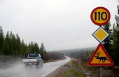 A sign warning of reindeer on the roads in northern Sweden. 2006 - Howard Davies - 25-04-2006