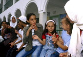 Palestinian children who are deaf attending a summer work camp integrating disabled and able bodied children, a programme intended to break down traditional prejudices against disability in the commun... - Howard Davies - 01-07-2003