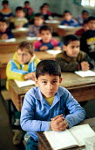 Palestinian refugee children studying at an UNRWA school, West Bank. 1993 - Howard Davies - 01-07-1993