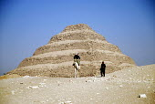 Police on camel by the Step Pyramid at Saqqara outside Cairo, Egypt. 2006 - Howard Davies - 07-11-2006