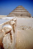 Snake statues at the Step Pyramid at Saqqara outside Cairo, Egypt. 2006 - Howard Davies - 07-11-2006